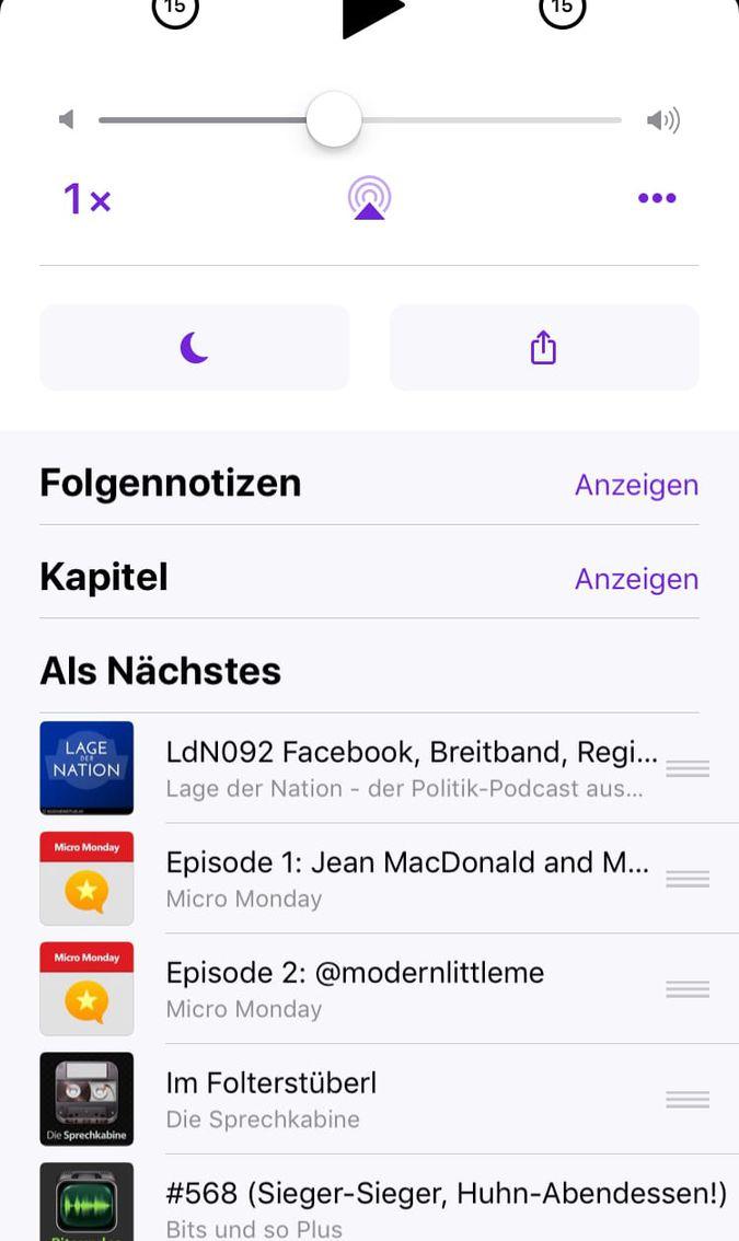 Podcasts App mit Warteliste